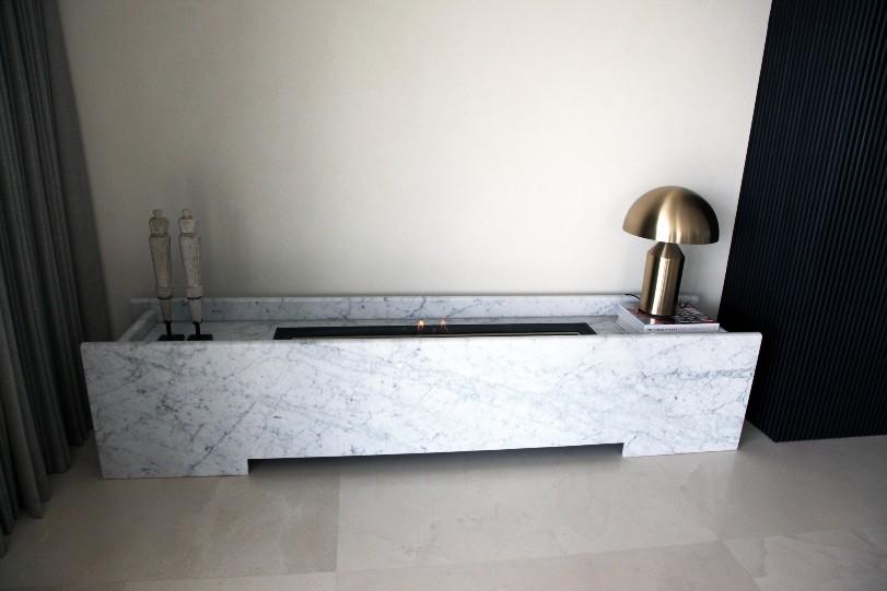 Carrara Marquina Marble Benchtop Fireplace